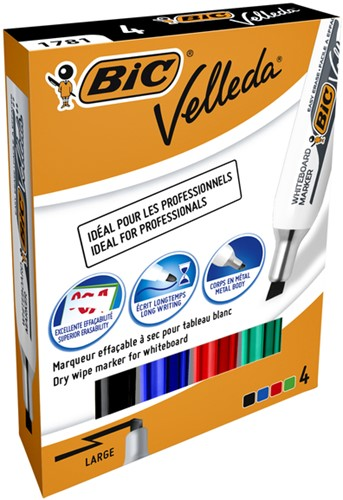 Viltstift Bic 1781 whiteboard schuin ass 3.2-5.5mm set à 4st