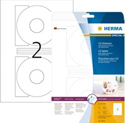 Etiket Herma 8624 CD 116mm wit opaqua 20stuks