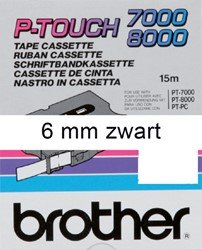 Labeltape Brother P-touch TX211 6mm zwart op wit