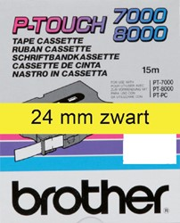 Labeltape Brother P-touch TX651 24mm zwart op geel