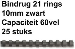 Bindrug Fellowes 10mm 21rings A4 zwart 25stuks