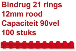 Bindrug Fellowes 12mm 21rings A4 rood 100stuks