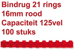 Bindrug Fellowes 16mm 21rings A4 rood 100stuks