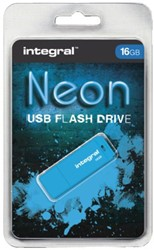 USB-stick 2.0 Integral 16GB neon blauw