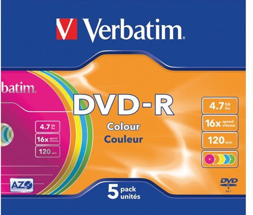 DVD-R Verbatim 4,7GB 16X Colour 5stuks-1