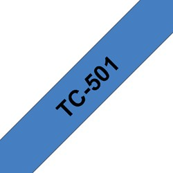 Labeltape Brother P-touch TC501 12mm zwart op blauw