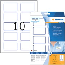Naambadge etiket Herma 4410 80X50mm wit blauw