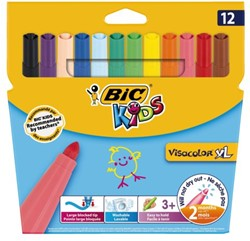 Viltstift Bic kids visacolor XL blister à 12stuks assorti