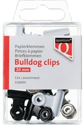 Papierklem bulldog Quantore blister 20mm assorti