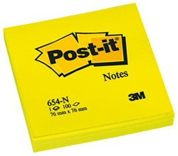 Memoblok 3M Post-it 654-NGE 76x76mm neon geel
